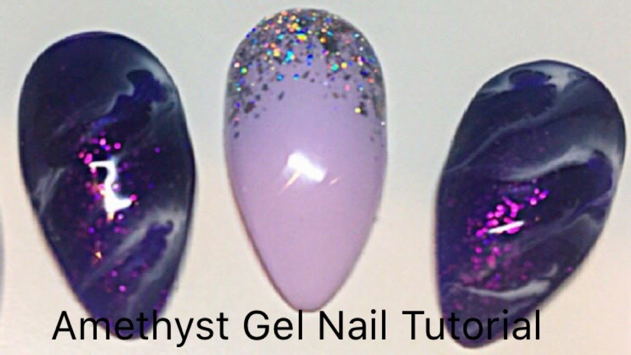 Amethyst Geode Marble nails - Quick easy Gel Nail Tutorial - YouTube