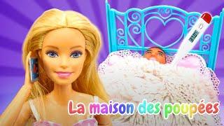 Ken est tombé malade. Vidéo avec les poupées Barbie et Ken pour enfants.