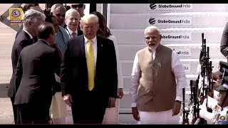 Prime Minister Narendra Modi Welcomes US President Donald Trump at Ahmadabad Airport