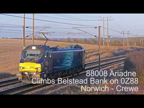"""88008 """"Ariadne"""" Climbs Belstead Bank, Great Eastern Mainline: 0Z88 19/03/18"""