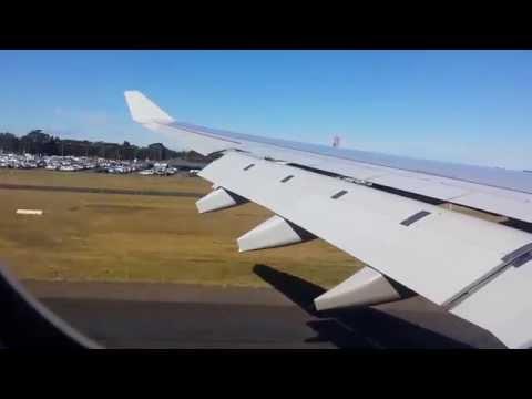 QANTAS Airbus 330 Perth to Sydney windy landing