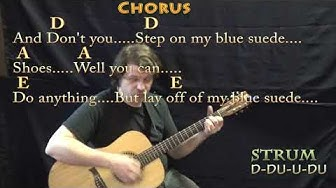 Blue Suede Shoes (Elvis) Guitar Cover Lesson in A with Chords/Lyrics - Munson