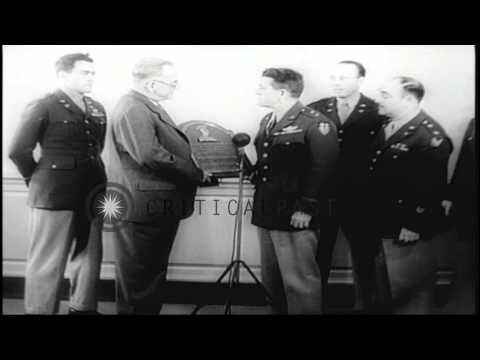 Major General Chennault reviews 14th Air Force pilots in China and the Allies bom...HD Stock Footage