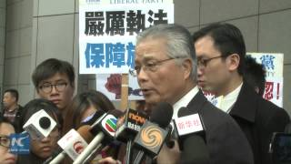 hk liberal party petitioned outside police headquarters say no to violence