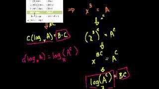 Доказательство А(log B)=log (B^A), log A-- log B=log (A делить на B)