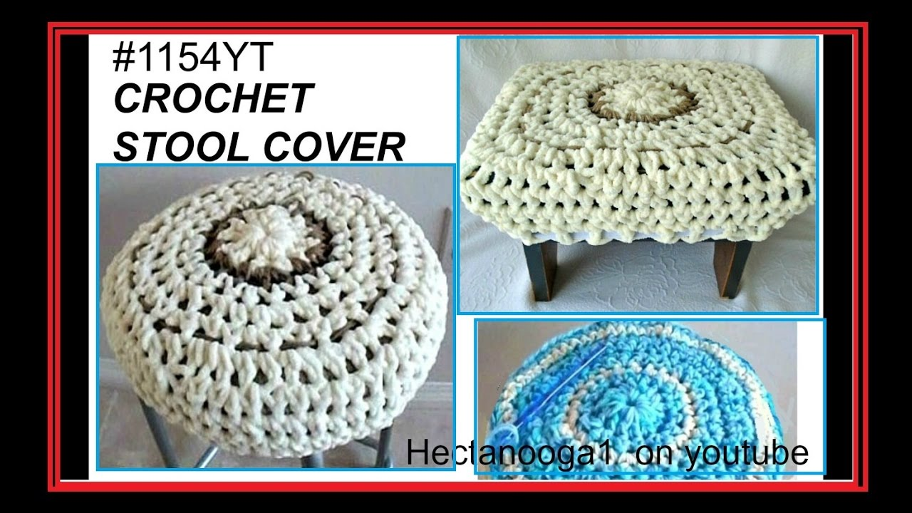 How to crochet STOOL COVERs for round or square stools, footstool ...