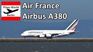 Air France Airbus A380 *F-HPJC* takeoff from San Francisco Airport