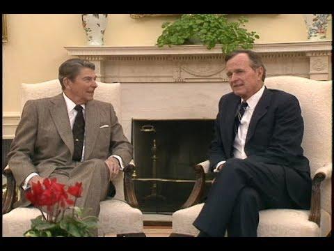President Reagan Greets President-Elect George Bush at White House on November 9, 1988