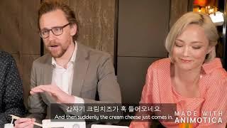 Tom Hiddleston making Pom Klementieff crack up