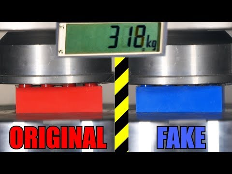 Which is the Stronger LEGO Brick Real or Fake? Hydraulic Press Test!