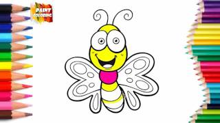 Butterfly Coloring Book and Drawing | Video For Kids Learning How to Draw with Colored Markers
