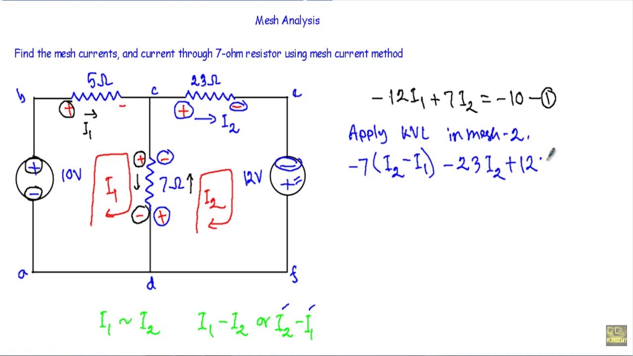 Mesh current analysis dc circuit theory.