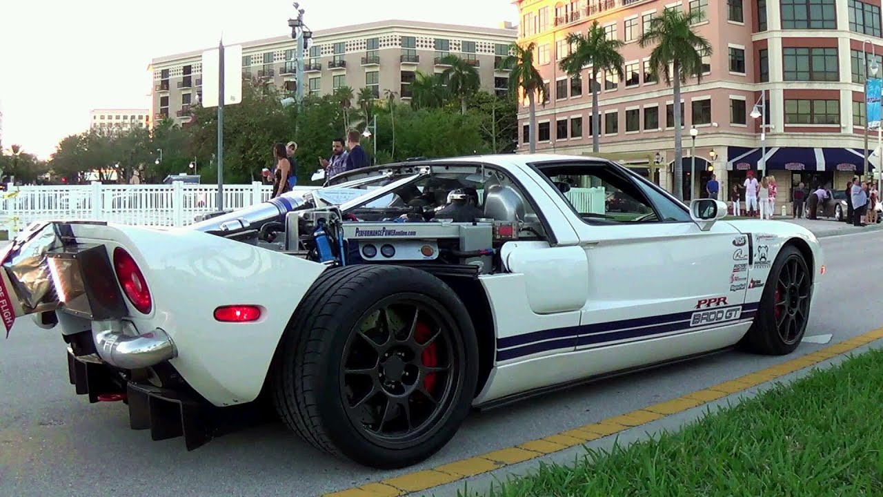 ford gt 1800 hp top speed 347 mph start up and drive engine sound