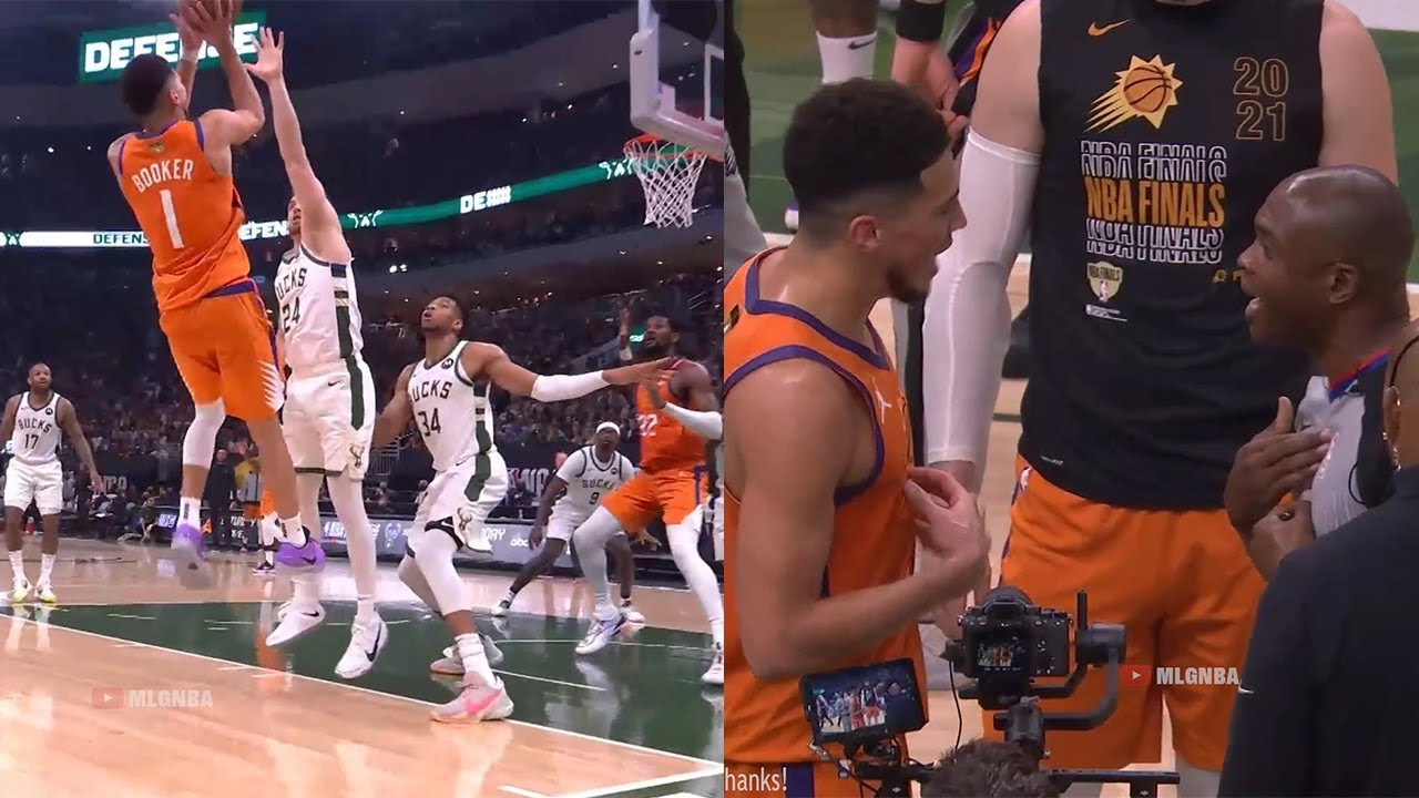Devin Booker looked like Kobe with that fadeaway shot and then exchanges words with ref 👀