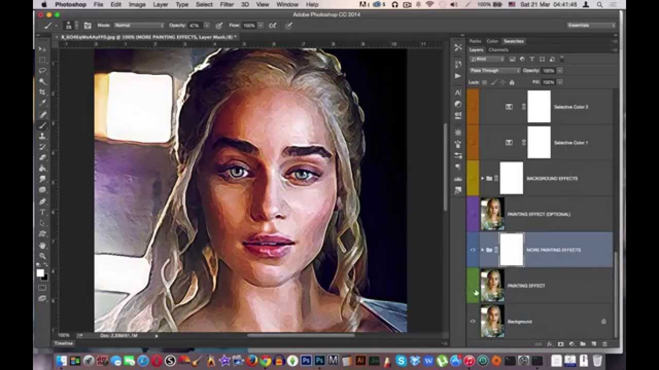 Daenerys Targaryen Realistic Watercolour Painting Effect Photoshop Actions  by Jas Graphic Tools