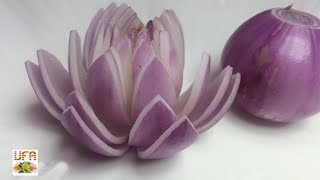 The Beauty Of Purple Onion Lotus Flower Cutting Garnish - Arts Of Vegetable Flower Design!
