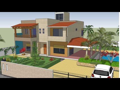 Plano casa dos pisos 4 cuartos mexico youtube for Planos de casas de dos niveles