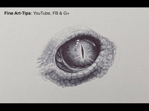 How to Draw a Reptillian Eye With a Ball Point Pen - Fine Art-Tips