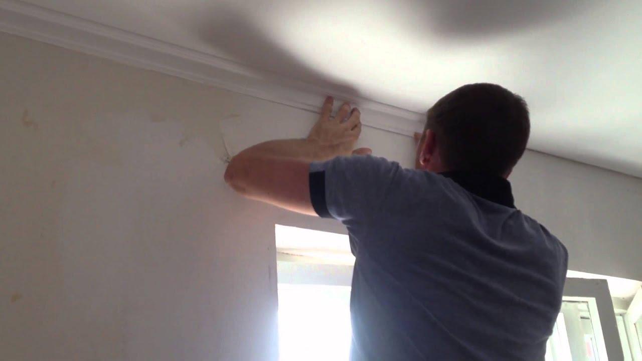 как клеить и красить галтелю под натяжной потолок