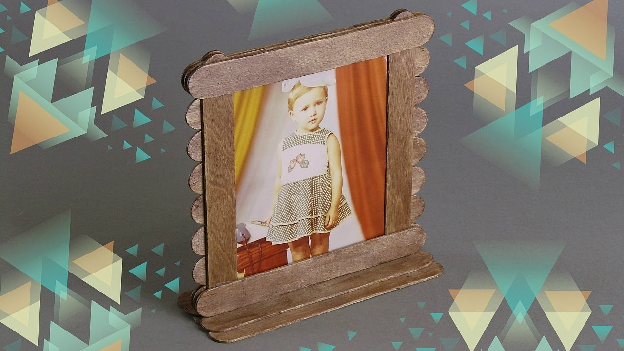 HOW TO MAKE PHOTO FRAME FROM POPSICLE STICKS / DIY PHOTO ...