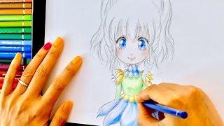 TUTO DESSIN #15 crayon de couleurs   Hana de face #3   vêtements