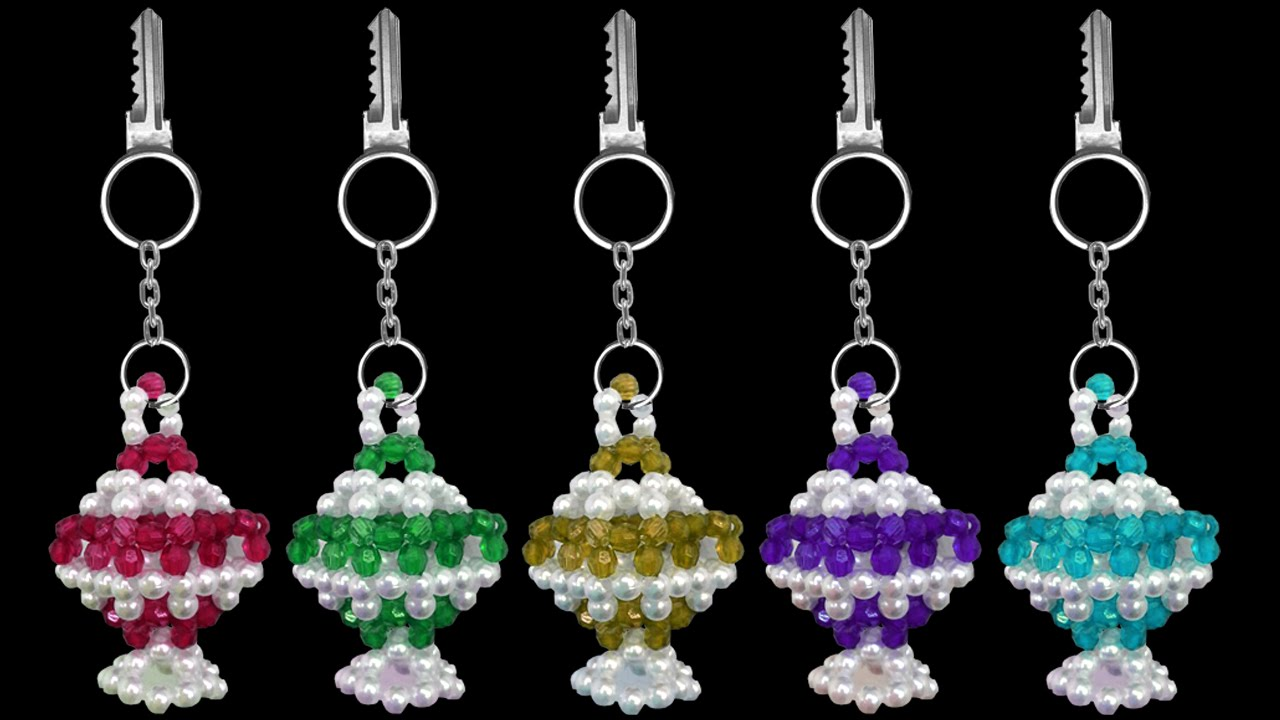 How to make a crystal beaded keychain at home beads for How to make beads craft