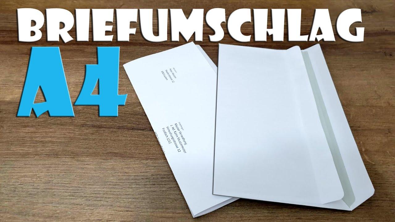 Briefumschlag Falten Für Din A4 Papier Envelope From A4 Sheet