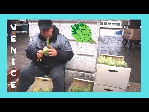 EXPLORING VENICE, how to clean artichokes (at the RIALTO MARKET), ITALY