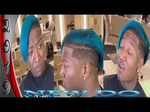 Yung Joc Shows Off His New Hairstyle Turquoise Blue Side Bob Youtube