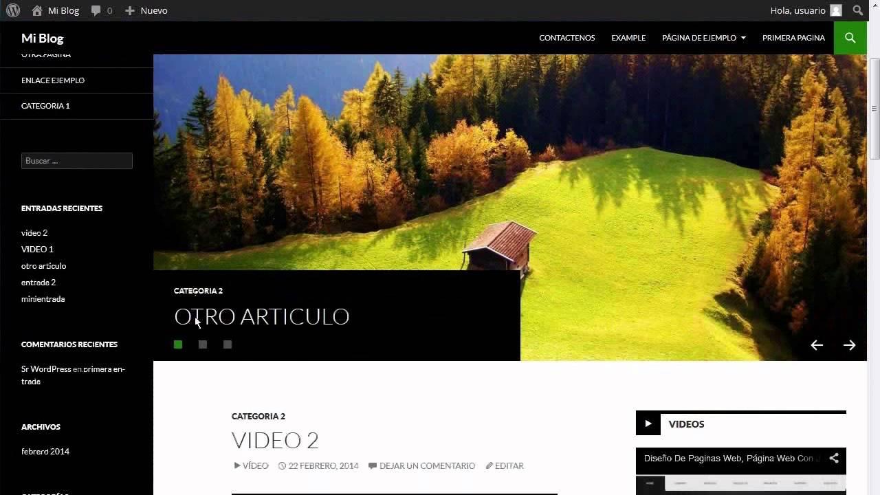 Pagina web din mica tipo revista digital con wordpress for Paginas web sobre turismo