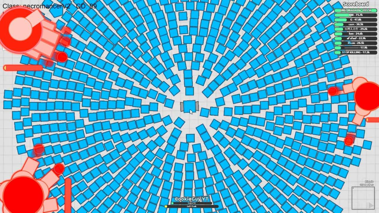 "Diep.io ""NECROMANCER WITH 1000 BULLETS"" (DRONES) // LVL 220 // DIEP.IO HACK"