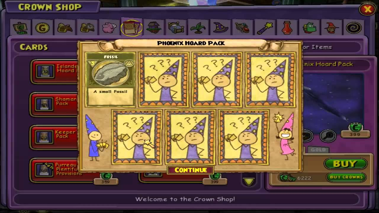 Wizard101: Opening 15k crowns worth of Phoenix hoard packs! (Test Realm)