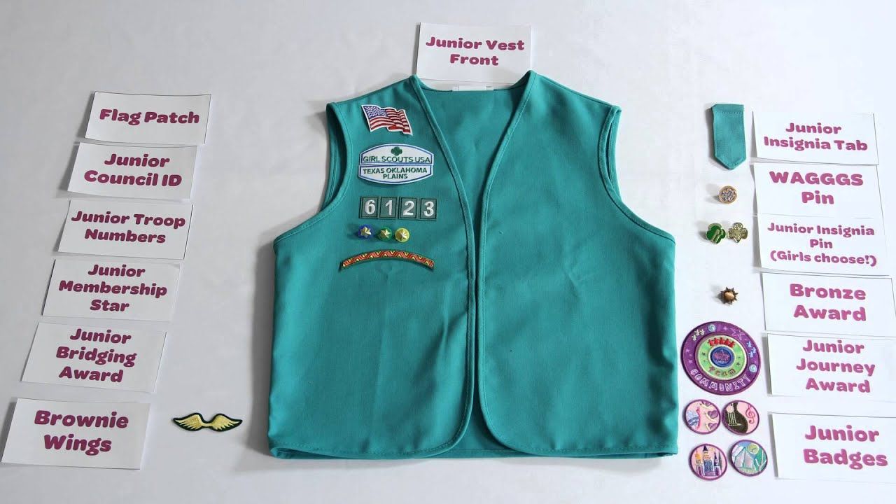 patch placement on junior girl scout vest