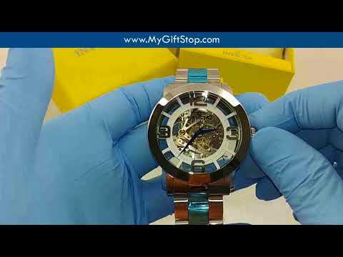 Invicta 22581 Vintage Steel Bracelet Silver Skeleton Dial Automatic Men's Watch Video