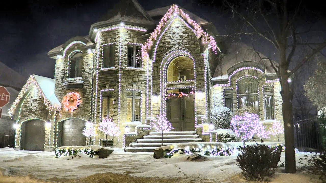 House With Christmas Lights.Million Dollar Homes Decorated With Christmas Lights In Montreal Qc Canada