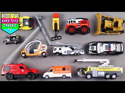 Emergency Vehicles For Kids Children Babies Toddlers With Crane Ambulance Fire Engine   Kids TV Cars