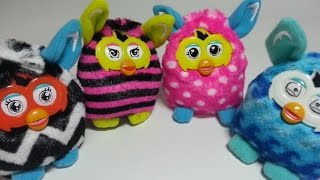 Mcdonalds Happy Meal Furby November  2015: Plush Blue Waves, Straight Stripes