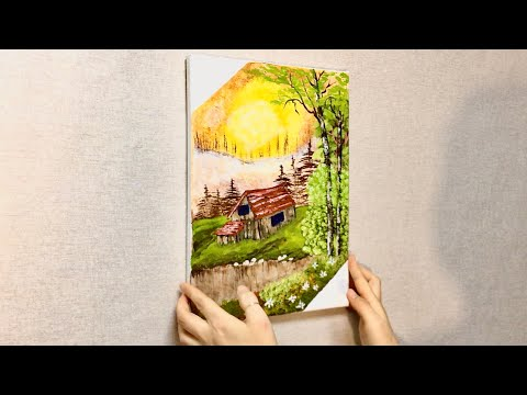 Acrylic painting – Landscape #24 Daisy with cabin 🌸 – Easy art – Simple painting – beginners art