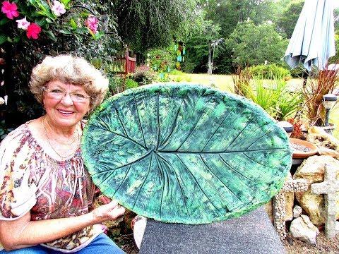 My Big Leaf Casting Portland Cement  Bird Bath