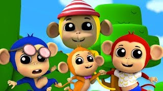 Пять Маленьких Обезьян | Обезьянки Мультфильм | Детские Песни | Five Little Monkeys | Farmees Russia