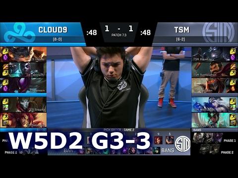 Cloud 9 vs TSM Game 3 | S7 NA LCS Spring 2017 Week 5 Day 2 | C9 vs TSM G3 W5D2