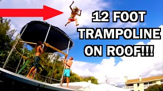 TRAMPOLINE VS STILTS ON ROOF!!!