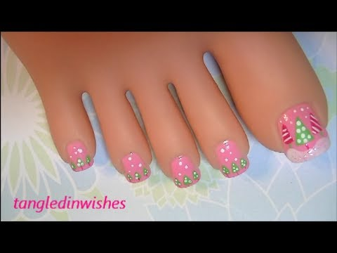 Christmas Toes Pink Green Christmas Nail Art Design Youtube