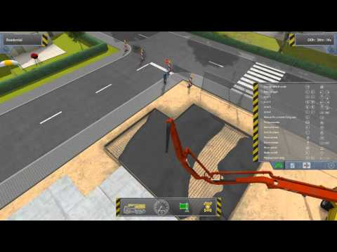 Construction Simulator 2012: pouring concrete for a foundation (w/ commentary)