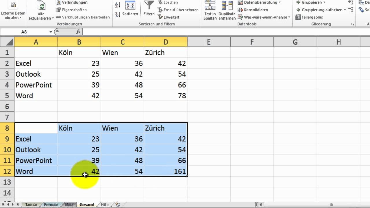 Excel # 268 - Konsolidieren (1) von Tabellen - YouTube