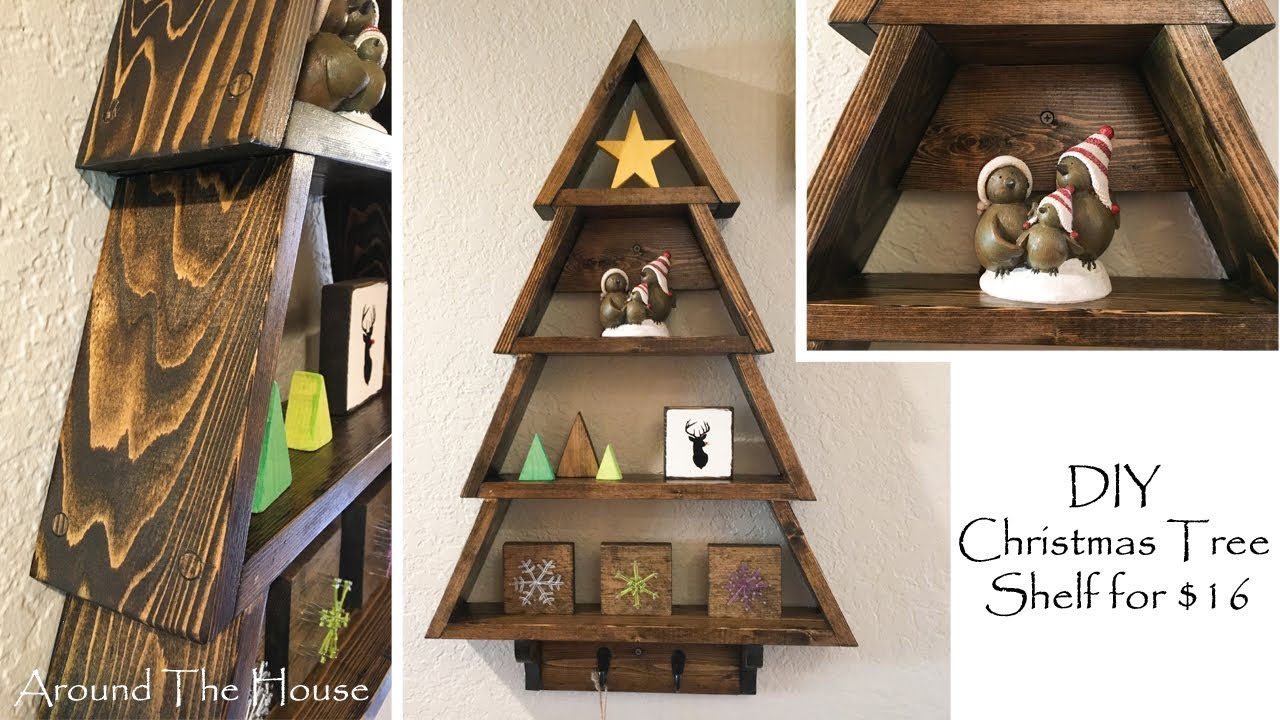 diy christmas tree wall shelf