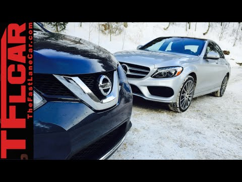2015 Mercedes-Benz C300 vs Nissan Rogue Ice Mountain Tire Mashup Review