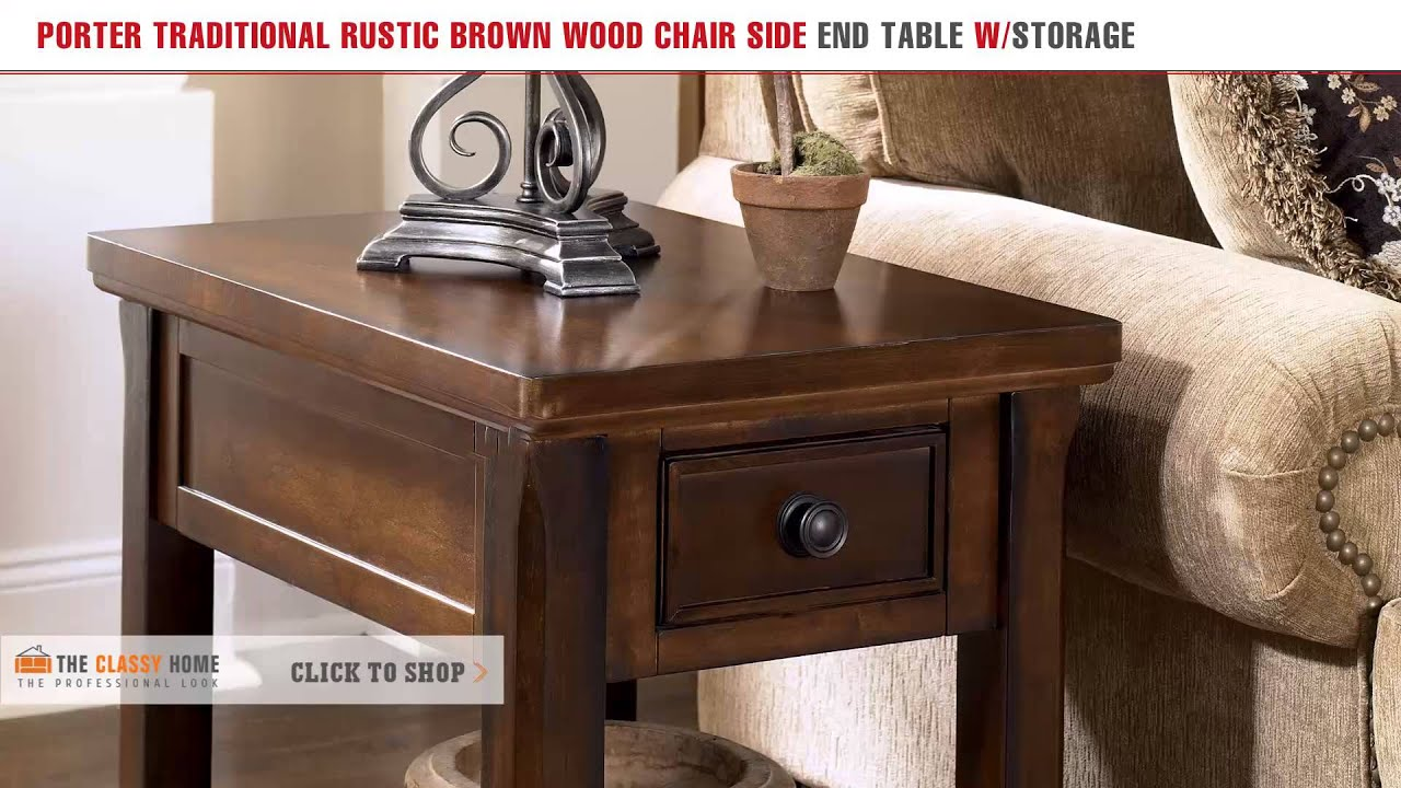 Rustic end tables with storage - Porter Traditional Rustic Brown Wood Chair Side End Table With Storage
