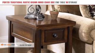 Porter Traditional Rustic Brown Wood Chair Side End Table With Storage