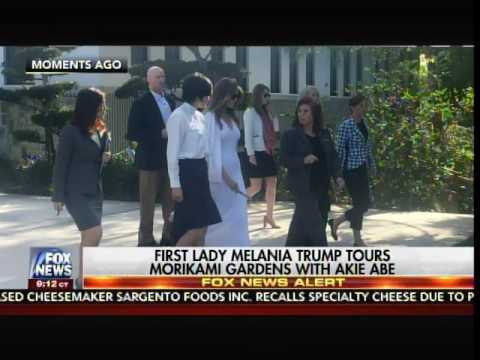 Beautiful First Lady Melania Trump Hosts Japanese First Lady at Florida Gardens